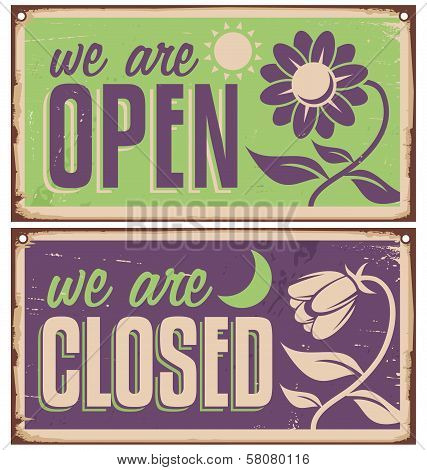 Retro door signs for flower shop or beauty salon