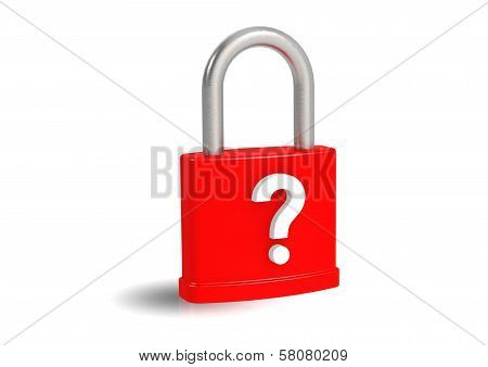 Question mark on red padlock