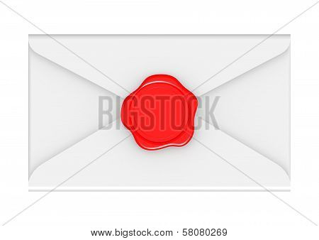Red seal with white envelope