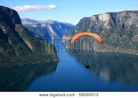 Paraglider in a Norwegian fjord