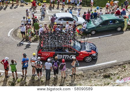 Bmc Team Technical Car In Pyrenees Mountains