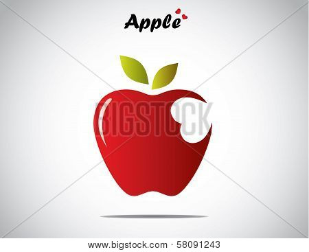 A Red Colorful Shiny Apple With Green Leaves With A Heart Shaped Bite - Concept Design Vector art