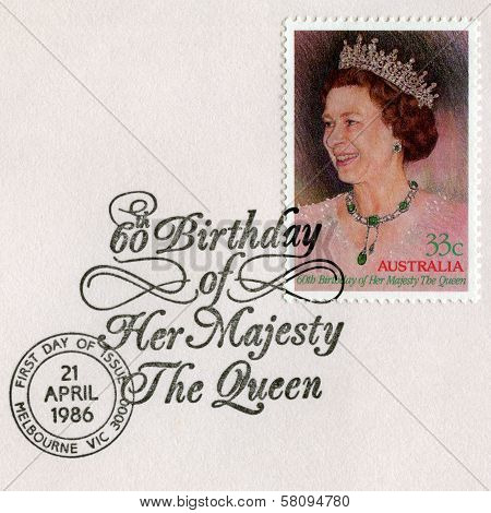 Australian Postage Stamp Celebrating The Queen's 60Th Birthday
