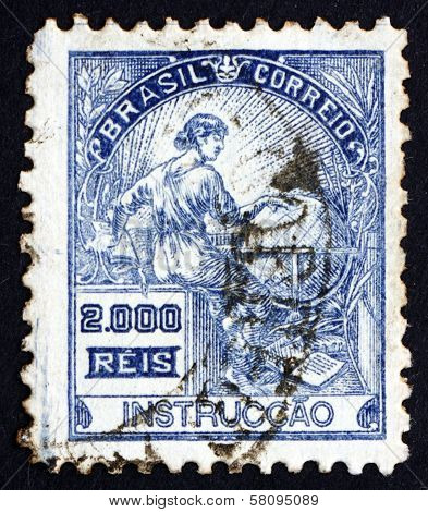 Postage Stamp Brazil 1920 Education, Allegory