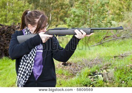 Girl Shooting Airgun