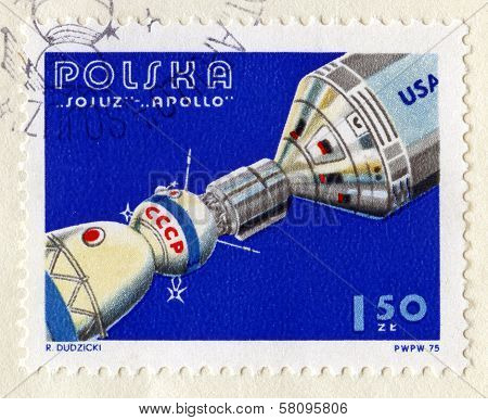 Vintage Polish Stamp Commemorating Soyuz