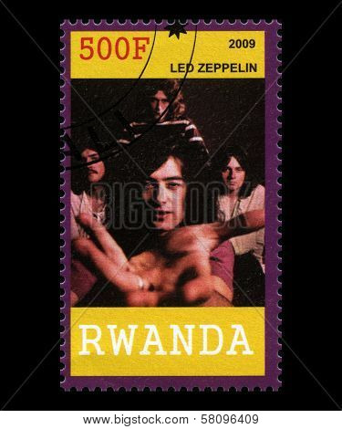 Led Zeppelin Postage Stamp From Rwanda