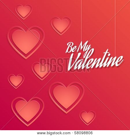 Valentine Background With Hearts Decorations