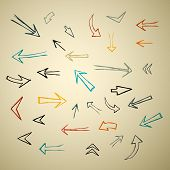 Vector Hand Drawn Arrows Set On Recycled Paper
