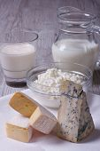 image of brie cheese  - set of products brie blue cheese cottage cheese and milk close - JPG