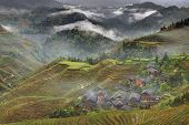 stock photo of farmhouse  - Yao Village Dazhai Longsheng near the town of Guilin Guangxi Province China  - JPG