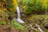 Giessbach Waterfalls In Autumn Near Brienz, Berner Highlands, Switzerland