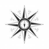 picture of wind-rose  - Simple compass rose  - JPG