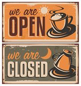 image of latte coffee  - Retro door signs for coffee shop or cafe bar - JPG