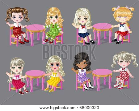 Girls Sitting on Dining Table 1