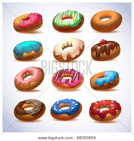 Super donut pack. Chocolate and vanilla icing desserts. Donut for every taste. sweets and pastries f