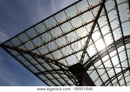 The Glass Roof Of A Station In Sunlight