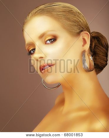 Sophistication. Portrait Of Noble Aristocratic Lady With Earrings