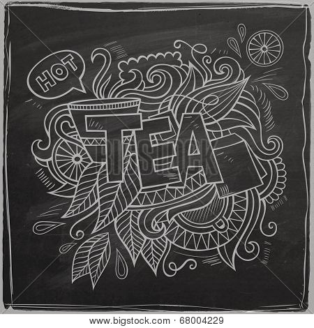 Tea hand lettering and doodles element On Chalkboard