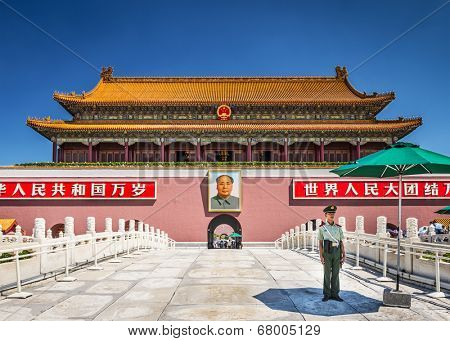 BEIJING, CHINA - JUNE 27, 2014: The Tiananmen Gate at Tiananmen Square. The gate was used as the entrance to the Imperial City, within which the Forbidden City is also located.
