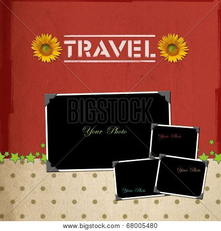 Travel concept scrapbook background