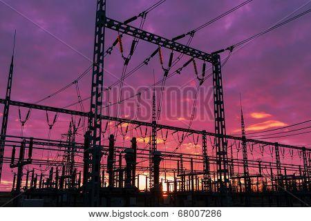 Substation on sunset