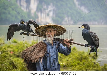 Cormorant fisherman and his birds on the Li River in Yangshuo, Guangxi, China.