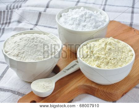 Three Bowls With Gluten Free Flour