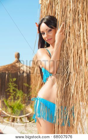 Sexy Brown Haired Girl In A Bikini Near  Thatched Bungalow