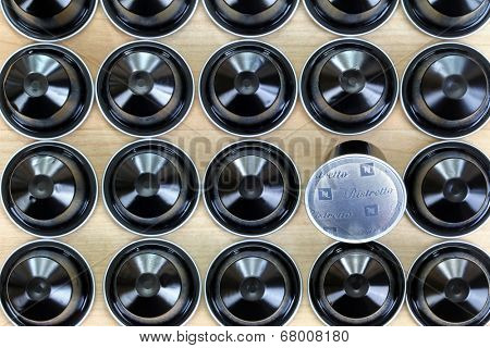 BANGKOK, THAILAND - JUNE 27 : Black single-serve Ristretto Nespresso capsules on 27 June 2014 in Bangkok, Thailand. Ristretto is a blend of South American, east African Arabicas and Robusta