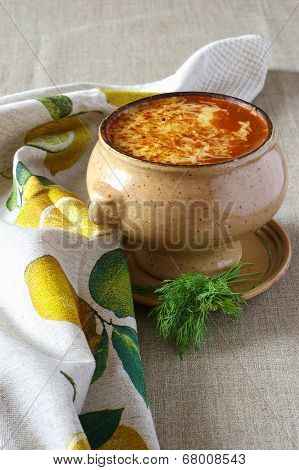 Tomato Soup With Cheese Crust