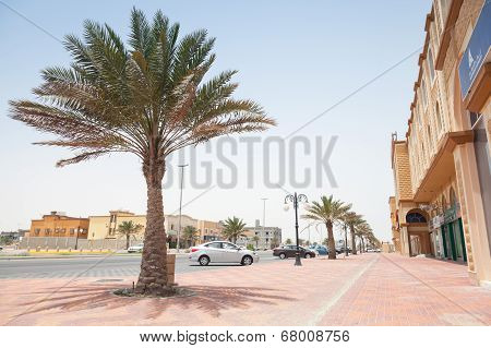 Ras Tanura, Saudi Arabia - May 10, 2014: Street View With Palm, Saudi Arabia