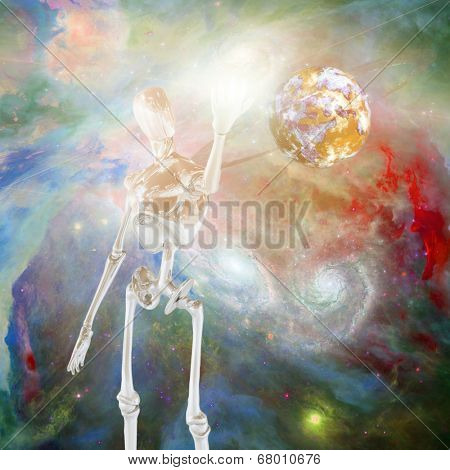 Robot and deep space Elements of this image furnished by NASA