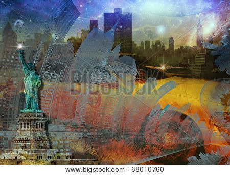 NYC Composition Elements of this image furnished by NASA