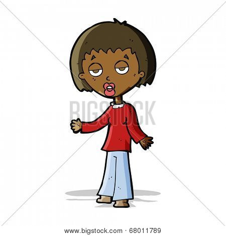 cartoon tired woman