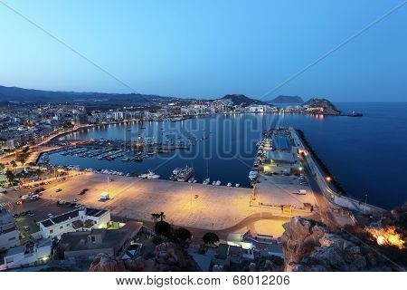 Aguilas At Night. Murcia, Spain