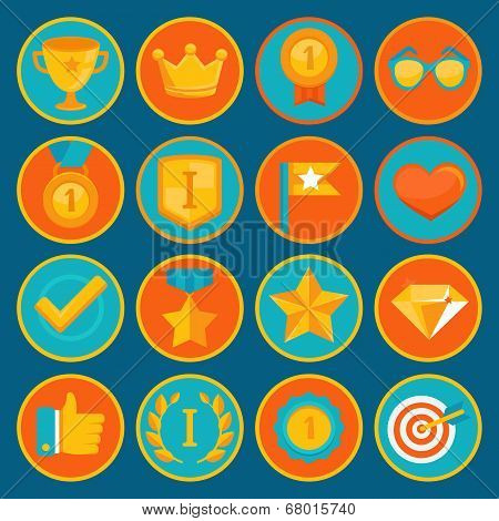 Vector Set Of 16 Flat Gamification Icons