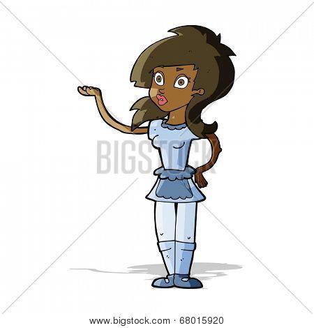cartoon pretty waitress