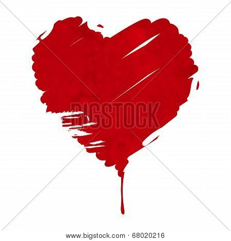 Grunge Red Heart Illustration. Splash Of Heart Shaped Red Paint Isolated On White
