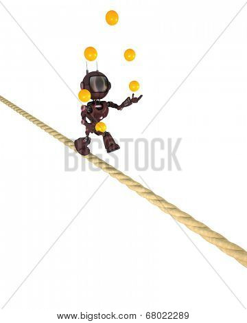 3D Render of an Android juggling on a tight rope