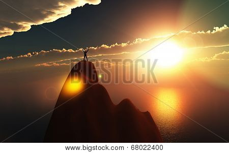 3D render of a man stood on top of a mountain with hands raised in success