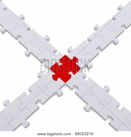 3D Puzzle Intersection On White
