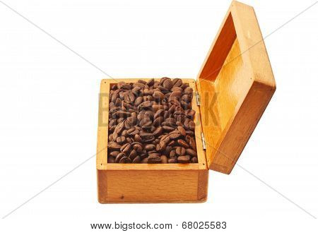 Coffee Beans In A Wooden Box Isolated