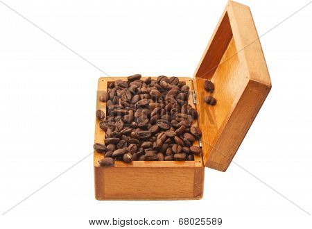 Open Old Wooden Box With Coffee Beans Isolated