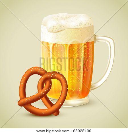 Mug of beer pretzel emblem