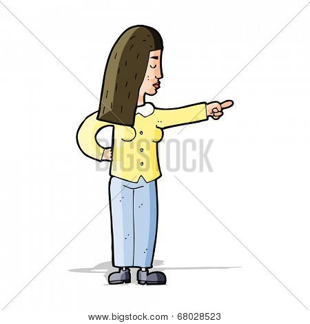cartoon woman pointing
