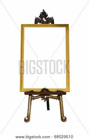 Vintage Gold Picture Frame With Wooden Easel Isolated On White