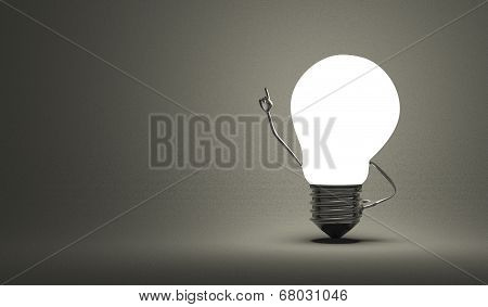 Light Bulb Character In Moment Of Insight On Gray