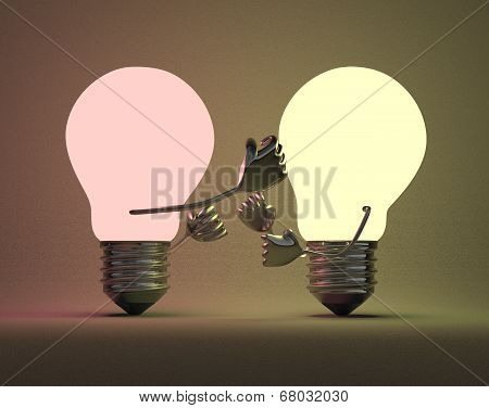 Reddish Glowing Light Bulb Punching Yellowish One