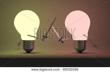 Reddish Glowing Light Bulb And Yellowish One Fighting Duel